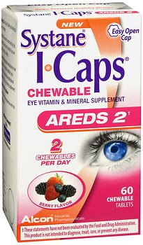 Systane I-Caps Eye Vitamin & Mineral Supplement AREDS 2 Chewable Tablets Berry Flavor - 60 ct, Pack of 2