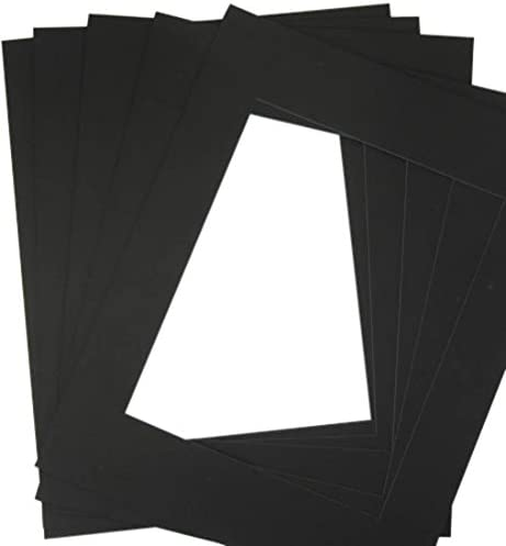 Pack of 32 8x10 BLACK/BLACK Double Mats Mattes for 5x7 photo with White Core Bevel Cut + Backing + Bags 41sM-TZwztL