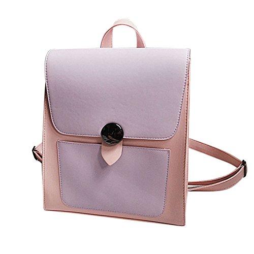 Majome Bolso de hombro simple del estudiante universitario de la mochila de la PU para las muchachas de las mujeres Violeta