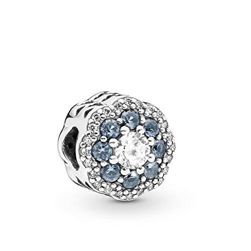 PANDORA Blue Sparkle Flower 925 Sterling Silver Charm - 797851NMB