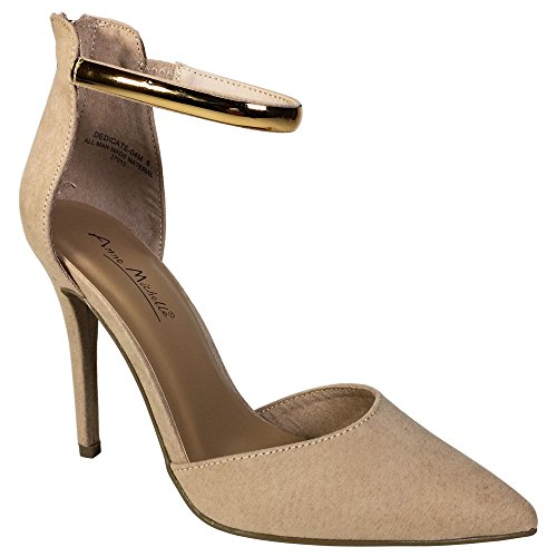 Anne Michelle Women's Pointy-Toe Open Shank Pump With Ankle Strap, Nude Faux Suede, 8.5 B (M) (Anne Michelle Pumps)