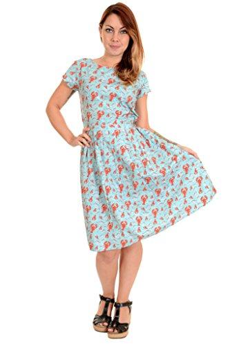 Run & Fly Ladies 50s Retro Vintage Lobster Tea Party Dress 14 Aqua Blue ()