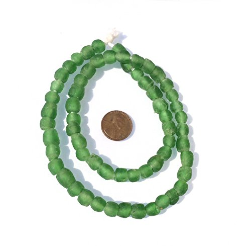 African Ghana Green Krobo Round Recycled Glass trade (African Recycled Glass Beads)
