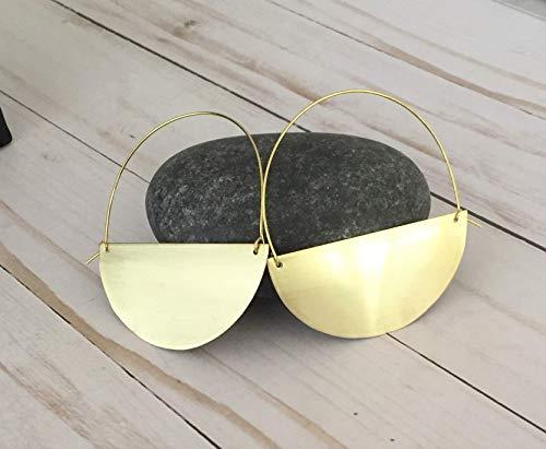 Half Moon Earrings - Brass Half Moon Hoop Earrings