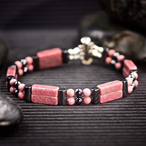 (Rhodonite Double Power Bracelet - Helps build confidence)