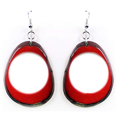 Slices Tagua Earrings Red Handmade