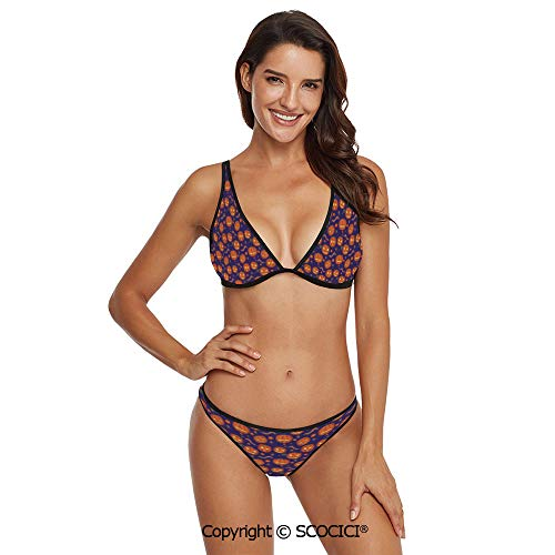 SCOCICI Comfortable and Quick Dry Bikini Pumpkins Pattern Different Face Expres -
