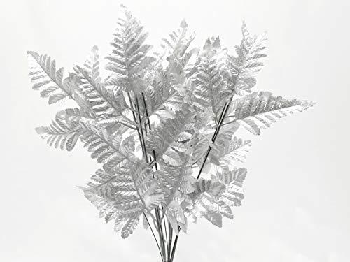 Silk Leather Leaf - Phoenix Silk 24 SILVER Leather Fern Leaves Sprays Artificial Plant Greenery