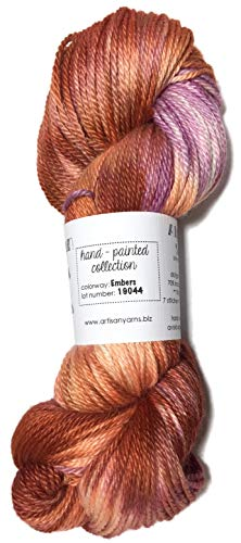 Hand Dyed Alpaca Silk Yarn, Hand Painted: Embers, Dk Weight, 100 Grams, 245 Yards, 70/30 Baby ()