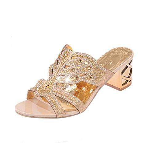 Huhu833 Scarpe Donna Strass Boemia In Pantofole Rosa Con Tacchi match All Oro Moda Aperte rqwXnCrZTW