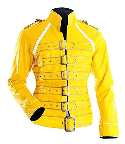 III-Fashions Womens Freddie Mercury Queen Concert Costume Belted Motorcycle Yellow Leather Jacket