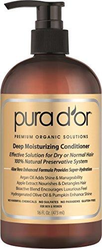 PURA D OR Deep Moisturizing Premium Organic Argan Oil & Aloe Vera Conditioner, 16 Fluid Ounce
