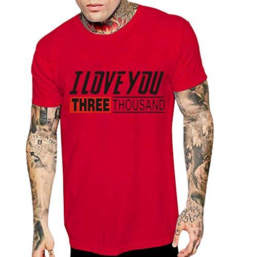 Price comparison product image T-Shirts for Men,  Kiasebu 2019 Fashion Men's Casual Printing Short Sleeve T-Shirt Tees Top Blouse Red