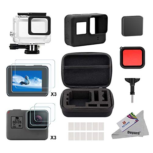 Deyard Accessory Kit for Go Pro Hero 7(Only Black)/HD(2018)/6/5 with Shockproof Small Case Waterproof Case Bundle for GoPro Hero 7/ Hero HD(2018)/ Hero 6/ Hero 5 Action Camera
