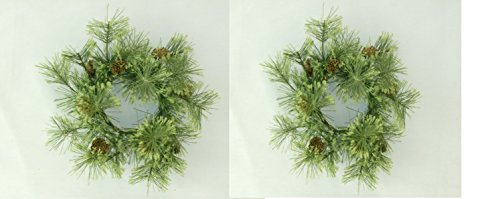 (PAIR - Deluxe Smokey Pine Wreath with Pinecone Accents Choice of 3 Sizes (4 Inch))