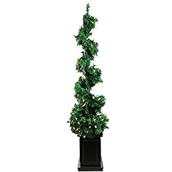 By Allstate 5' Pre-Lit Helix Spiral Potted Artificial...