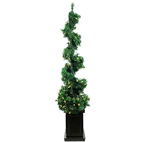 ALLSTATE YT9015-GR 5' Pre-Lit Helix Spiral Potted Artificial Topiary Tree-Clear Lights by Allstate