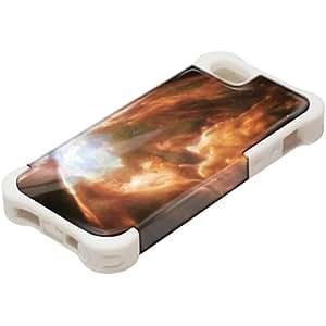 Espacio 10080, Design Blanco Caso Carcasa Funda de Silicona Hybrid Armor Protección Case Cover con Diseño Colorido y Protector De Pantalla para Apple iPhone 5 5S.
