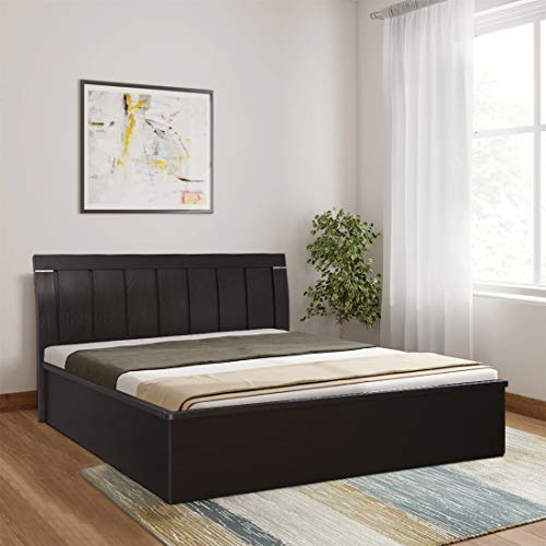 HomeTown Mozart Engineered Wood Hydraulic Storage Queen Size Bed in Wenge Colour