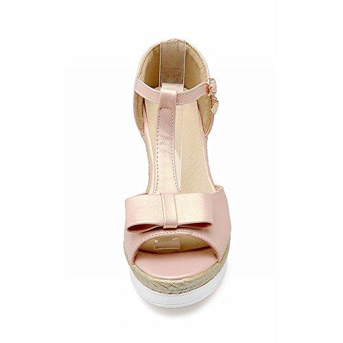 Carolbar Womens Leuke Strikken T-strap Gesp Peep Toe Platform Wiggen Sandalen Roze