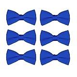 Boys Bow Tie Wholesale 6 Pack Children Pre-Tied Formal Tuxedo Bowties Kids Solid Ties (Royal)
