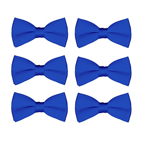 Men's Bow Tie Wholesale Pre-Tied Formal Tuxedo Solid Bowties 6 Pack (Royal Blue)