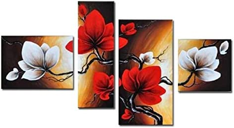 Wieco Art – Large Size Modern Abstract Floral 4 Piece 100 Hand Painted Full Bloom in Spring Red Flowers Oil Paintings on Canvas Wall Art for Living Room Bedroom Home Decorations