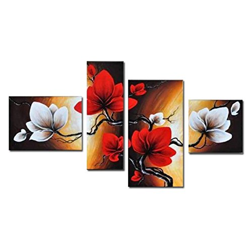 Wieco Art the Back Full Bloom in Spring Red Flowers 100% Hand-painted 4 panels Flower Oil Paintings on Canvas Wall Art for Wall Decor Landscape Oil Painting on Canvas 4pcs/set