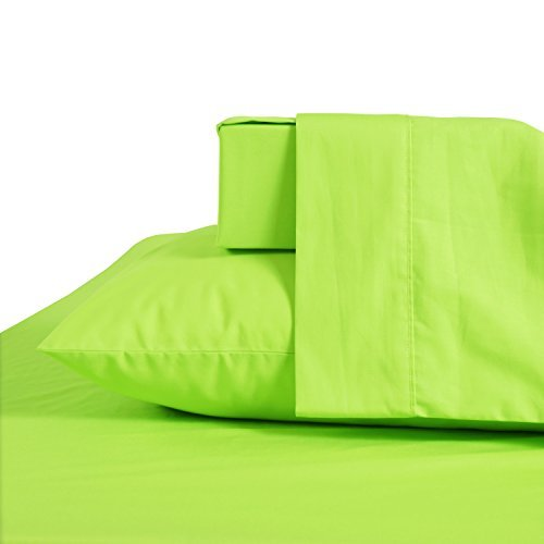 (JiaJia Home Textile Queen Size,60% Combed Cotton 40% Polyester 200 Thread Count Sheet Set 4pcs, Deep Pocket, Anti-Wrinkle, Premium Quality Bed Sheets (Queen, Green) )