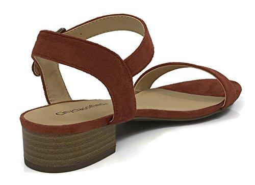 City Classified Womens Open Toe Ankle Strap Low Block Heel Sandal Rust yPNW1RNsf
