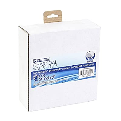 Premium Charcoal Water Filters for PetSafe Drinkwell Avalon & Pagoda Fountains, Pack of 12