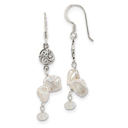 ing Silver Freshwater Cultured Keshi Pearl Moonstone Shep. Hook Drop Dangle Chandelier Earrings Fine Jewelry Ideal Gifts For Women Gift Set From Heart (Cultured Pearl Moonstone Earrings)
