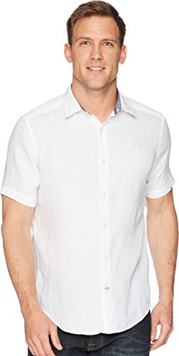 Nautica Men's Short Sleeve Classic Fit Solid Linen Button Down Shirt, Bright White, Large