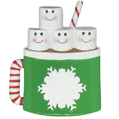 Marshmallow Mug Family of 4 Personalized Ornament - (Unique Christmas Tree Ornament - Classic Decor for A Holiday Party - Custom Decorations for Family Kids Baby Military Sports Or Pets)
