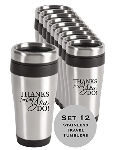 12-Piece Thank You Stainless Tumblers/Stainless Steel Thank You Travel Mugs/Teacher Thanks/Corporate Thank You Travel Mugs/Nurse's Day Gifts
