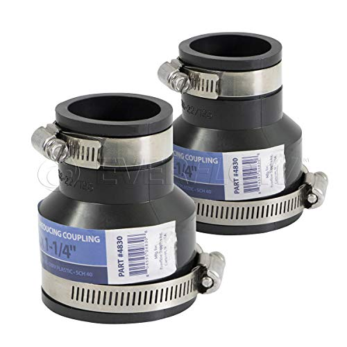 Pvc 1/2 Reducer - EVERCONNECT 4830x2 Flexible Pvc Reducing Coupling with Stainless Steel Clamps 2 x 1-1/4 inch Black (pack of 2)