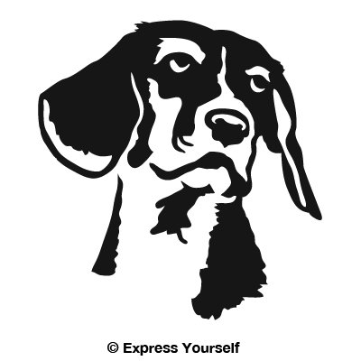 Beagle Portrait (Black - Facing as Shown - Small) Decal Sticker - Hunting Dog Collection