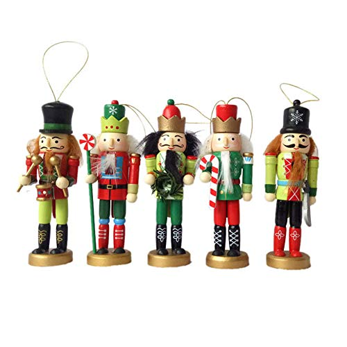 Ytzada Wooden Christmas Nutcracker Ornament Set, 5pcs Wood Handpainted Assorted Set Toy Decoration Figures Puppet Home for Christmas Tree (5