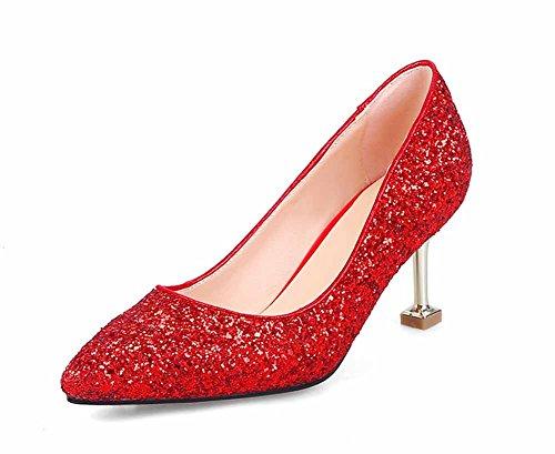 SHINIK Mujeres acentuaron Las Bombas de Lentejuelas Nueva Novia de la Manera de Tacones Altos Cómodo Zapatos de Boda Tamaño EU 33-43 Rojo