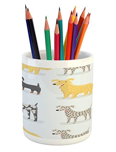 (Lunarable Dogs Pencil Pen Holder, Dogs Dalmatian Yorkshire Terrier German Shorthaired Pointer Playroom Nursery, Printed Ceramic Pencil Pen Holder for Desk Office Accessory,)
