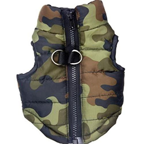 Futemo Pet Camouflage Jacket, Small Dog Cat Vest Cold Weather Coat Puppy Winter Padded Outfit Warm Costume (S, Green) ()