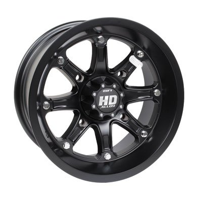 STI 4/110 HD4 Limited Edition Alloy Wheel 12x7 5.0 + 2.0 Matte Black for Yamaha GRIZZLY 350 4x4 2007-2014 by STI