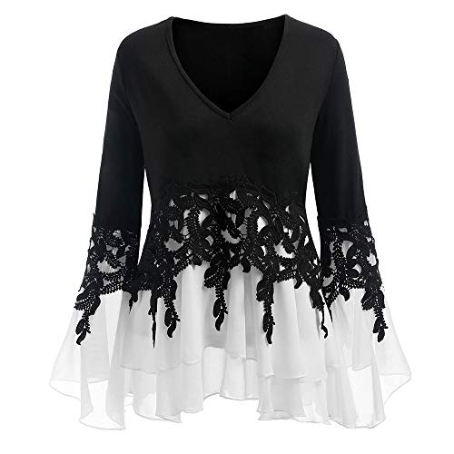 GOVOW Christmas Chiffon Blouses for Women Plus Size - Casual Applique Flowy V-neck Long Sleeve Blouse Tops(US:8/CN:L,Black) ()