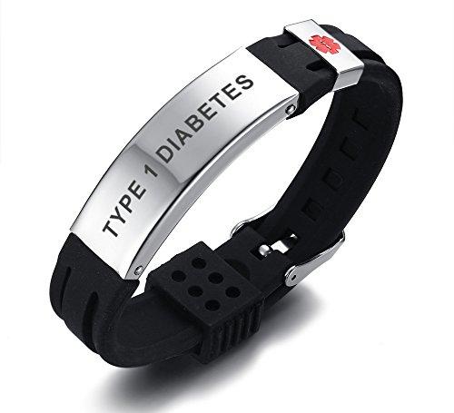 Type 1 Diabetes-Stainless Steel & Black Silicone Belt Buckle Adjustable Medical Alert ID Bracelets Band for Men Boy