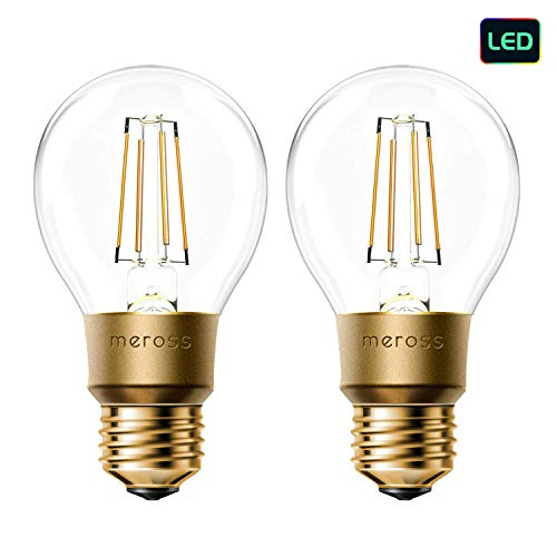 meross Smart Wi-Fi LED Bulb, Vintage Edison Style, Dimmable, 60W Equivalent, Compatible with Amazon Alexa, Google Assistant and IFTTT, E26 A19 Light Bulb, No Hub Required – 2 Pack