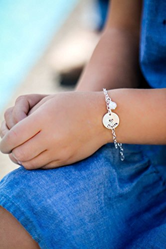 Girls Sterling Silver Name Bracelet - ROI - Personalized Daughter Heart Charm - 1/2 Inch 12.7mm Disc - Handstamped Jewelry - Custom Birthstone Color