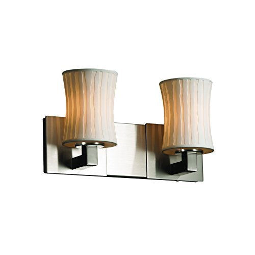 Justice Design Group Limoges 2-Light Bath Bar - Brushed Nickel Finish with Waterfall Translucent Porcelain Shade by Justice Design Group Lighting