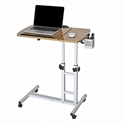 CA&HomeDecor Height Adjustable Rolling Laptop Desk Cart Over Bed Hospital Table Stand