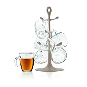 Bodum K2110-133US Copenhagen Mug Tree Set with Glass Mugs, Sand
