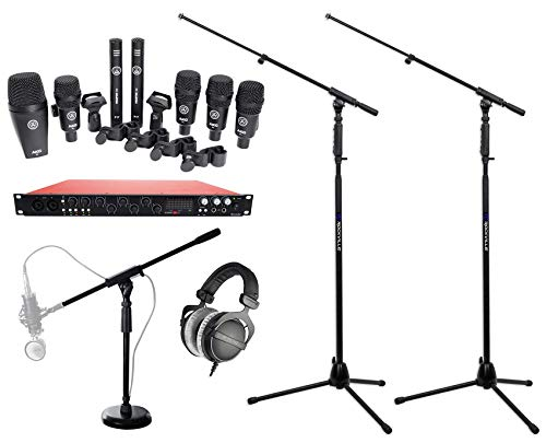 AKG Drum Set Session I 7) Mic Recording Kit w/DT 770 Headphones+Interface+Stands